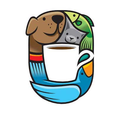 dog holding coffee mug