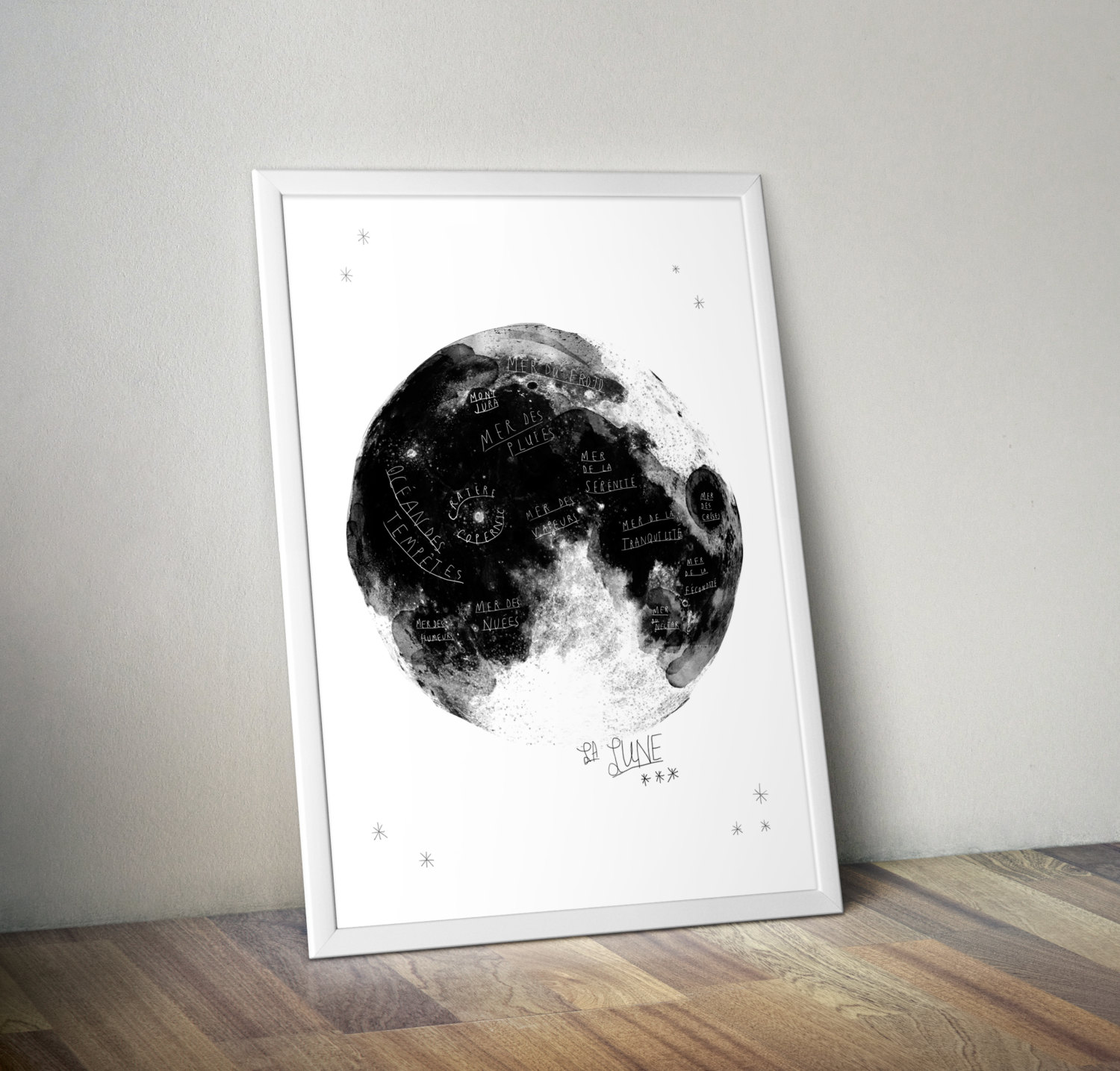 moon drawing in frame
