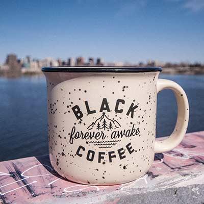 forever awake black coffee mug