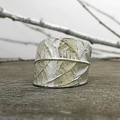 handmade leaf silver ring