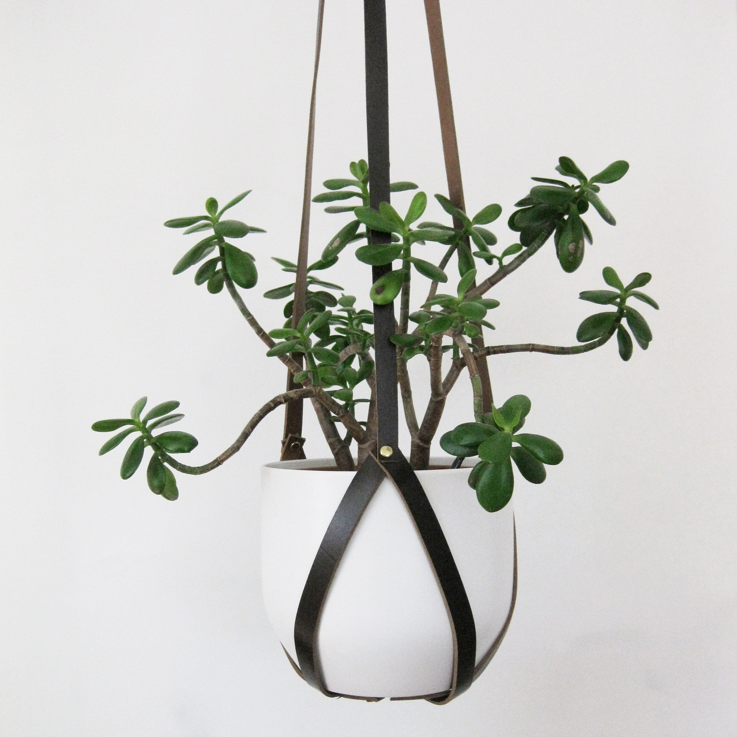 handmade leather hanging flower pot