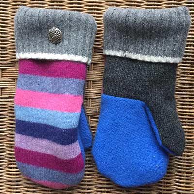 handmade stripped mittens