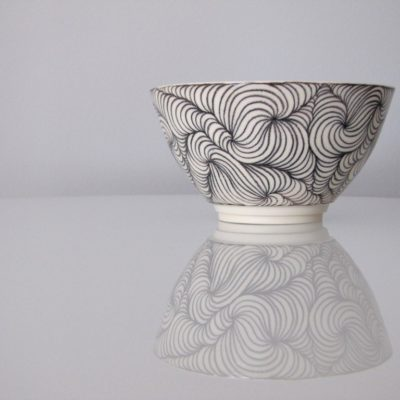 handmade pottery black swirl bowl