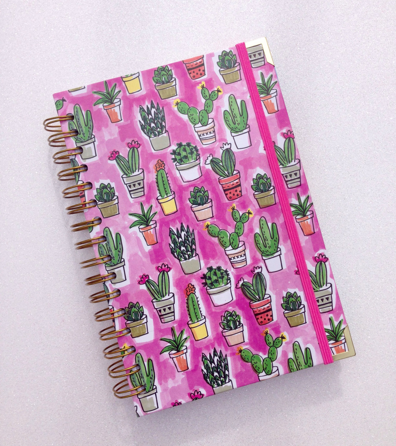 notebook with mini cactus plants
