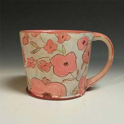 pink flowers handmade pottery