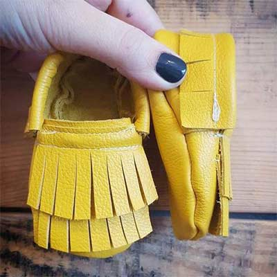 yellow leather baby slippers