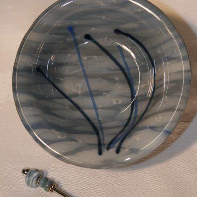 blue handmade glassware