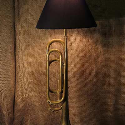 recycled trumpet lamp